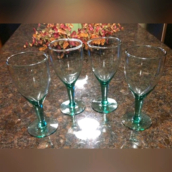 Vintage Mouth Blown Green Tint Water/Wine Goblets
